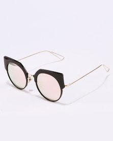 You & I Plastic Detail Cateye Black Frame Mirror Lens Gold-tone