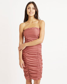 London Hub Fashion Ruched Midi Dress Blush