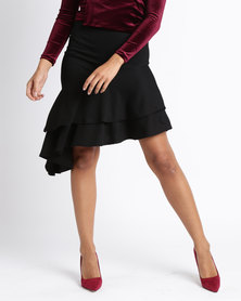 London Hub Fashion Asymmetric Tiered Frill Skirt Black