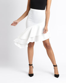 London Hub Fashion Asymmetric Tiered Frill Skirt White