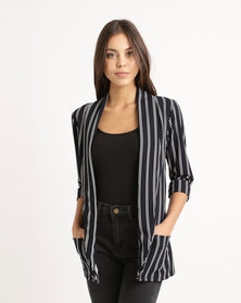London Hub Fashion Striped Edge To Edge Blazer Navy/White