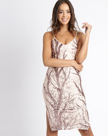 London Hub Fashion Mesh & Sequin Detail Bodycon Cami Dress Blush