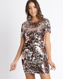London Hub Fashion Two Tone Sequin Bodycon Mini Dress Rose Gold
