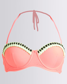 Kangol Underwire Bandeau With Removable Straps Bright Coral