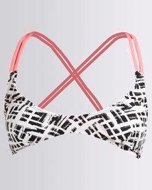 Kangol Moulded A Frame Bikini Top With Contrast Binding Black/White