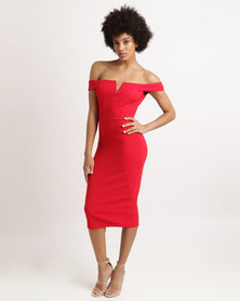 AX Paris Bardot Notch Dress Red