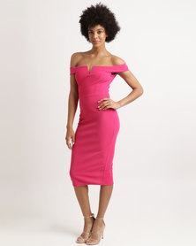 AX Paris Bardot Notch Dress Cerise