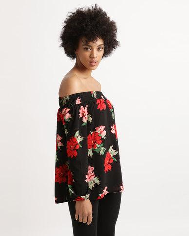 AX Paris Floral Bardot Top Black/Red