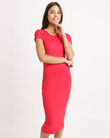 London Hub Fashion Cap Sleeve Midi Bodycon Dress Red