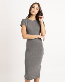 London Hub Fashion Cap Sleeve Midi Bodycon Dress Charcoal
