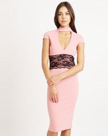 London Hub Fashion Plunge Choker Lace Trim Midi Bodycon Blush