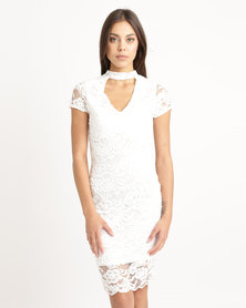 London Hub Fashion Lace Choker Neck Bodycon Dress Ivory