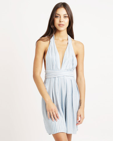 5d443ebacec London hub fashion pinstripe halter neck playsuit blue zando jpg 388x485 Halter  neck playsuit