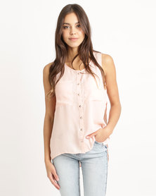 London Hub Fashion Popper Front Vest With Patch Blush