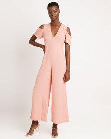 London Hub Fashion Cold Shoulder Wide Leg Jumpsuit Blush