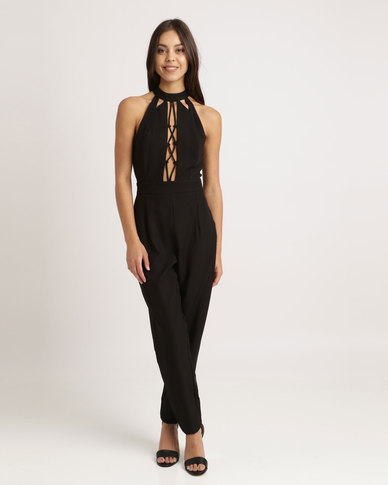 7e0a90b46f2f London Hub Fashion Choker Neck Tie Front Detail Jumpsuit Black