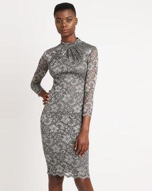 City Goddess London High Neck Lace Midi Dress Silver