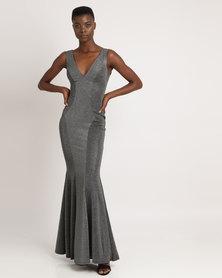 City Goddess London Fishtail Lurex Maxi Dress Silver