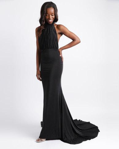 96f04e9bfd4 City Goddess London Open Back Velvet Maxi Dress Black