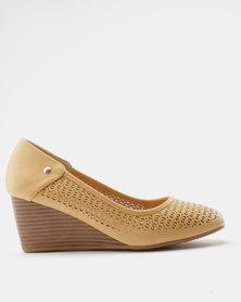 Bata Comfit Mid Heel Wedge Beige