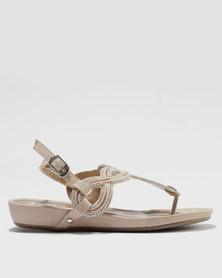 Bata Embellished Ankle Strap Sandal Pink