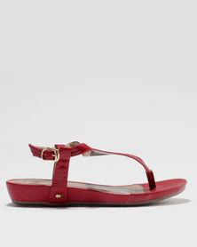 Bata Low Heel Wedge Sandal Red