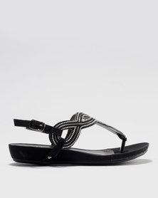 Bata Embellished Ankle Strap Sandal Black