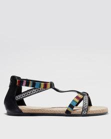 Bata Ankle Strap Sandal with Stud Detail Black