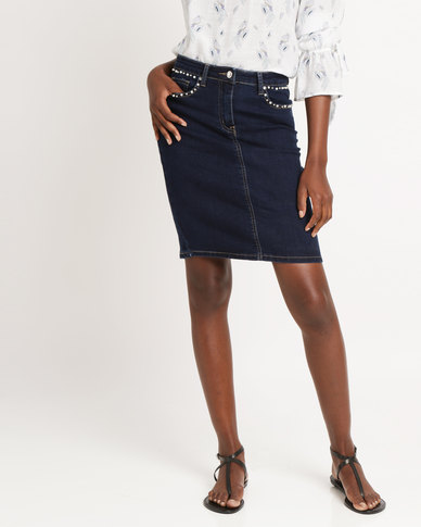 Cath Nic by Queenspark Stud Detail Denim Woven Skirt Indigo