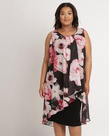 Queenspark Plus Printed Layered Woven Dress Mutli