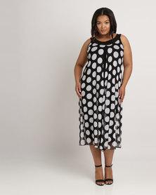 Queenspark Plus Big Spot Mesh Knit Dress Black/White