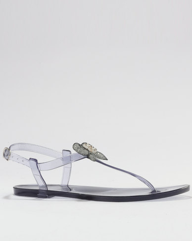 Queenspark Jewellery Bow Sandals Grey