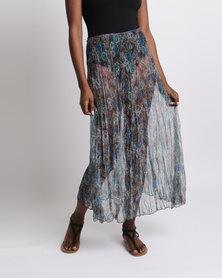 UB Creative Floral Mesh Half Circle Skirt Purple Rose