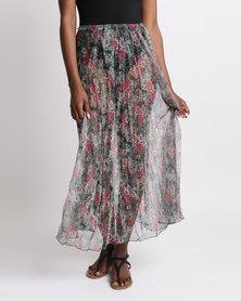 UB Creative Floral Mesh Half Circle Skirt Pink Rose