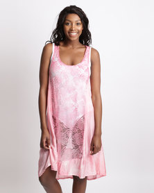 UB Creative Silk and Lace Pinnie Dress Pink