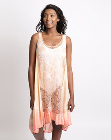 UB Creative Silk and Lace Pinnie Dress Orange