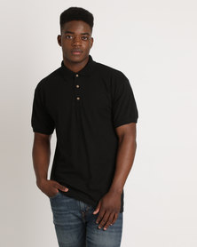 Utopia 100% Cotton Pique Polo Tee Black