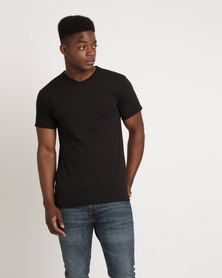 Utopia 100% Cotton Slim Fit V-Neck T-Shirt Black