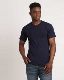 Utopia 100% Cotton Slim Fit V-Neck T-Shirt Navy