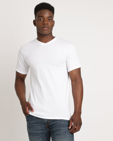 Utopia 100% Cotton Slim Fit V-Neck T-Shirt White