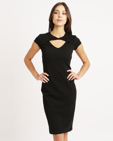 Utopia Twist Front Ponti Dress Black