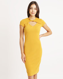 Utopia Twist Front Ponti Dress Ochre