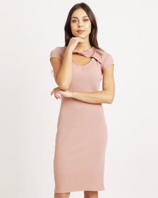 Utopia Twist Front Ponti Dress Pink
