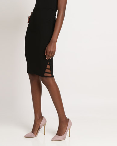 Utopia Ponti Pencil Skirt with Side Detail Black