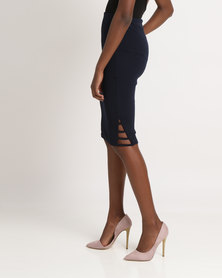 Utopia Ponti Pencil Skirt with Side Detail Navy