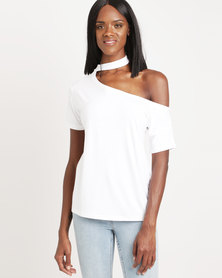 Utopia One Shoulder Slouchy Top White