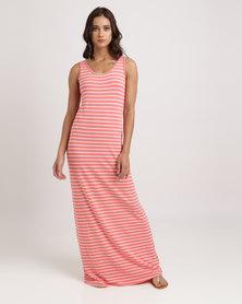Utopia Stripe Maxi Vest Dress Coral