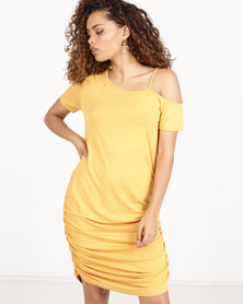Utopia Off Shoulder Ruched Dress Mustard