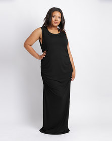 Utopia Plus Ruched Maxi Dress With Slit Black