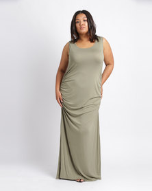 Utopia Plus Ruched Maxi Dress With Slit Olive
